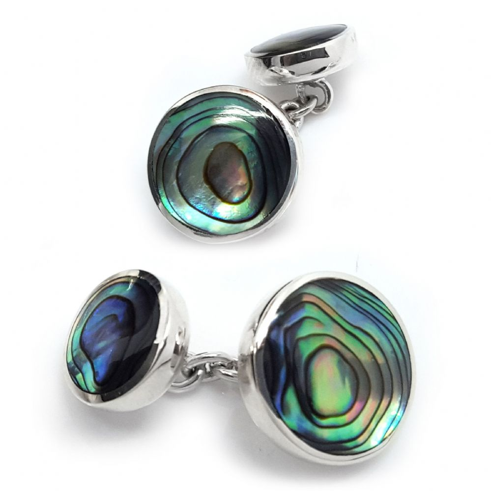 Mens Round Oyster Shell Double-Sided  Cufflinks  Sterling Silver